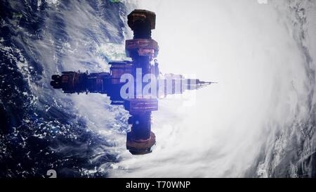 4k Flight Of The International Space Station Above the Earth. - Stock Photo