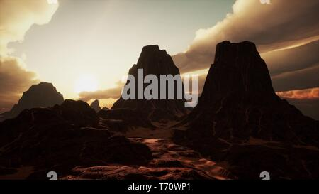 Amazing Sandstone Formations in Famous Sunset at Monument Valley - Stock Photo