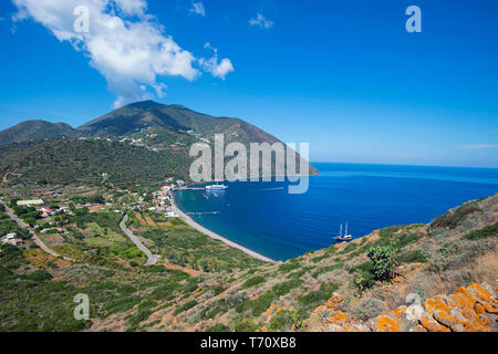 View on Filicudi village, Filicudi, Aeolian islands, Sicily, Italy - Stock Photo