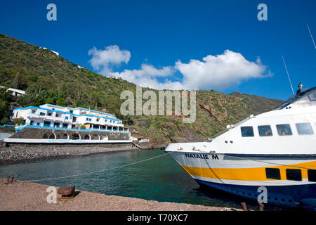 Harbor of Filicudi Island, Aeolian islands, sicily, Italy - Stock Photo