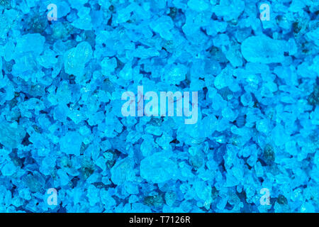 Blue salt background, high detailed background from blue sea salt, top view - Stock Photo