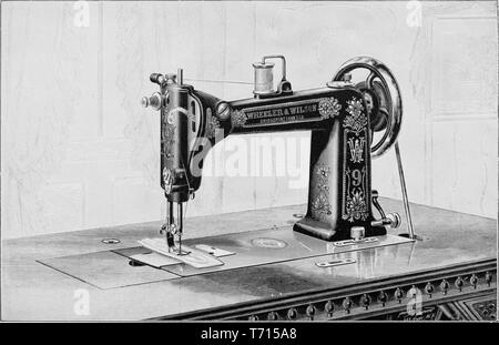Engraving of the Wheeler and Wilson sewing machine, from the book 'Modern Mechanism' by Park Benjamin, 1892. Courtesy Internet Archive. () - Stock Photo