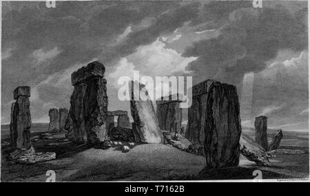 Engraving of the Stonehenge, prehistoric monument in Wiltshire, England, from the book 'Antiquities of Great Britain' by William Byrne and Thomas Hearne, 1825. Courtesy Internet Archive. () - Stock Photo