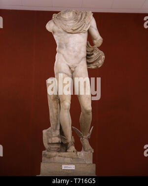 Statue of Mercury (Hermes).  Italica, Andalusia, Spain. 2nd century. Archaeological Museum of Seville. Andalusia. Spain. - Stock Photo