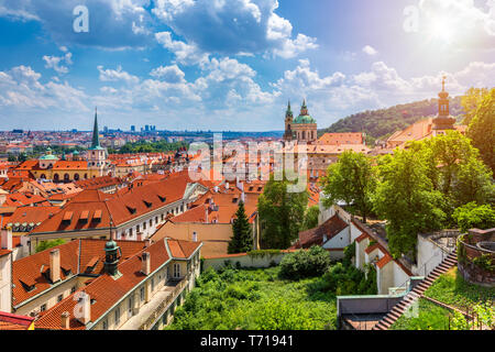 Top view to red roofs skyline of Prague city, Czech Republic. Aerial view of Prague city with terracotta roof tiles, Prague, Czechia. Old Town archite - Stock Photo
