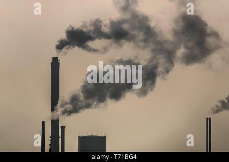 smoking chimneys air pollution environment - Stock Photo