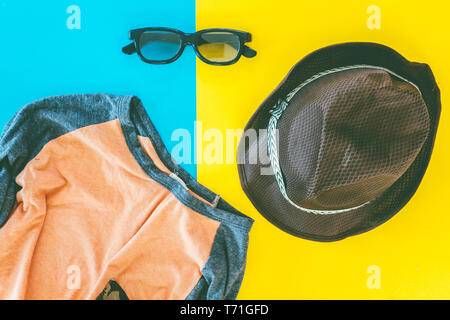 Men's casual outfits on table - Stock Photo