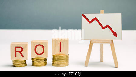 Wooden blocks with the word ROI and a poster with an arrow down. Financial ratio illustrating the level of business loss. Return on investment. Recess - Stock Photo