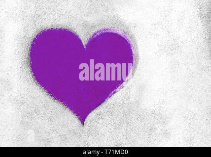 Violet heart on concrete wall - Stock Photo