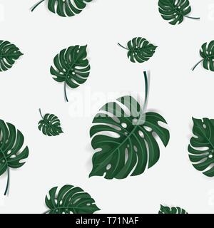 pattern of green palm leaves seamless isolated on white background , vector - Stock Photo