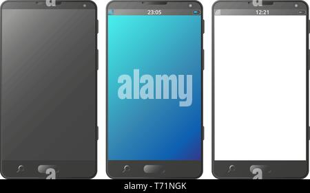 Mobile phone, smartphone isolated with black, blue and transparent screen with gradients, transparent background, vector - Stock Photo