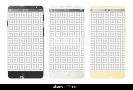 Vector mobile phones, smartphones with buttons isolated with transparent screen on white background. Digital devices set in black, white and gold colo - Stock Photo