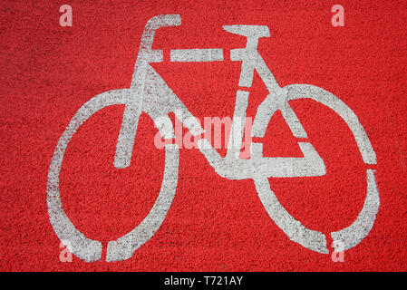 Bicycle icon on bike path - Stock Photo