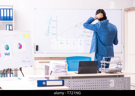 Male sales analyst in front of the whiteboard - Stock Photo