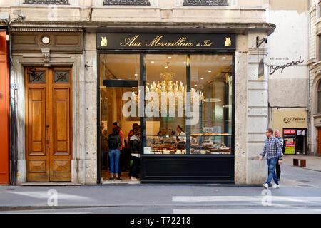 Aux Merveilleux De Fred, 32 Rue Grenette, Lyon, France - Stock Photo