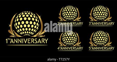 Anniversary golf logo. Set of gold icons isolated on black - Stock Photo