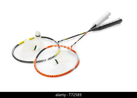 Badminton rackets and feather shuttlecocks - Stock Photo