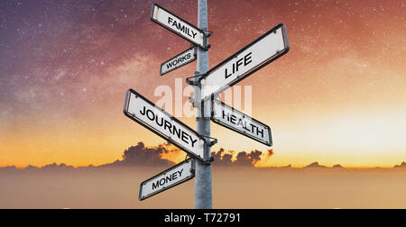 Life balance, Harmony concept. Balanced between work, family, works, money, health, and journey on directional signpost - Stock Photo