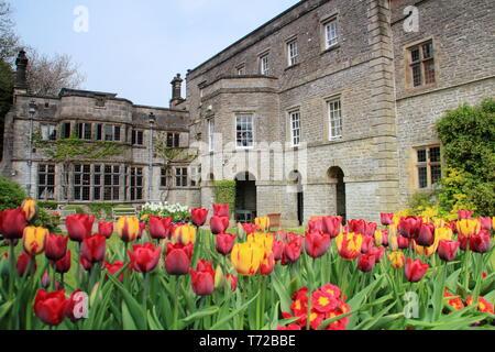 Tissington hall gardens in spring, near Ashbourne in the Peak District National PArk, Derbyshire,England, UK