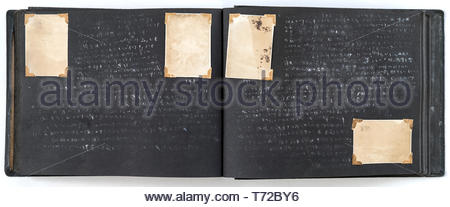 photo album with missing and fading images Japan ca late 1940s - Stock Photo