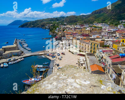 Aerial view of Lipari, Aeolian Islands, Italy - Stock Photo