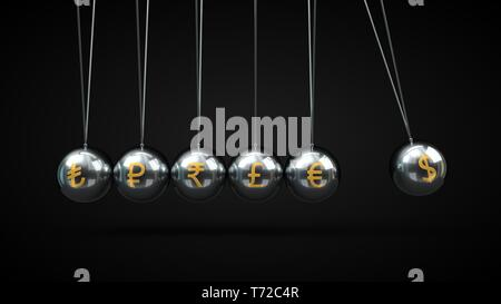 Newton's Cradle silver balls and golden currency symbols. 3d illustration, on black backgorund - Stock Photo