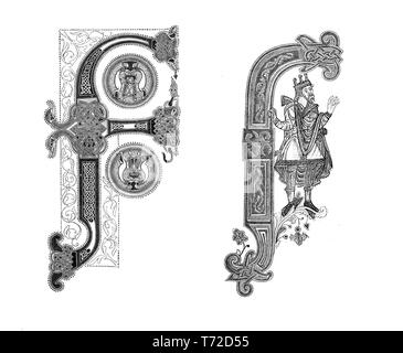 Two samples of capital F decorated letter in miniatures of the 9th century - Stock Photo