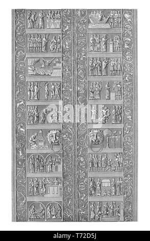 Gniezno Doors are the medieval bronze entrance gates of the Gniezno Cathedral in Gniezno, Poland, decorated with scenes in bas-relef from the life of St. Adalbert in Romanesque style. - Stock Photo