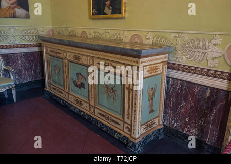 A cupboard stands in one of the royal apartments of the 'Reggia di Caserta', a huge palace that was built during the 18th century. - Stock Photo