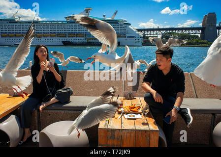 Bars and restaurants in the promenade Circular Quay of Harbour Bridge in Sydney, Australia - Stock Photo