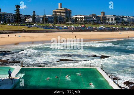 Bondi Icebergs swimming pool, Bondi Beach, Sydney, New South Wales, Australia. The Bondi beach to Coogee walk is a coastal walk in Sydney New South Wa - Stock Photo