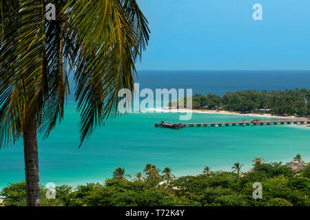 Aerial view in the beach, Corn Island, Caribbean Sea, Nicaragua, Central America, America. - Stock Photo