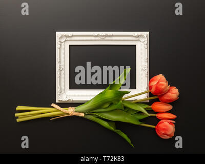 white frame on black background with tulip flowers - Stock Photo