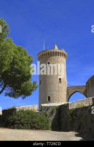 Medieval castle Bellver in Palma de Mallorca, Spain - Stock Photo
