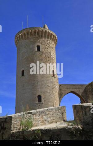 Medieval castle Bellver in Palma de Mallorca, Spain - Stock Photo