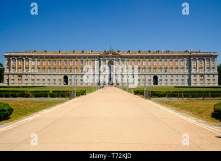 The 'Reggia di Caserta', of which you see the front facade, was the largest royal residence in the world. Now, it is possible to visit the palace and - Stock Photo