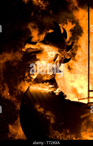Up Helly Aa burning galley ship. Up Helly Aa is a viking fire festival unique to the Shetland Isles, North of Scotland, UK. - Stock Photo