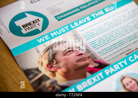 Brexit Party election campaign communication  leaflet with a picture of Nigel Farage with the words we must leave the EU - Stock Photo