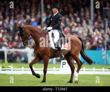 New Zealand's Tim Price on Ringwood Sky Boy competes in the dressage during day three of the 2019 Mitsubishi Motors Badminton Horse Trials at The Badminton Estate, Gloucestershire. - Stock Photo