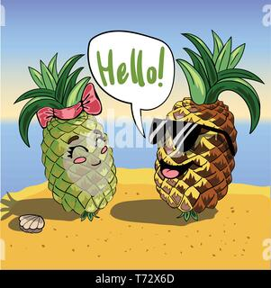 Vector background with funny pineapples in glasses and text Hello . Invitation template with cute smiling cartoon characters. - Stock Photo