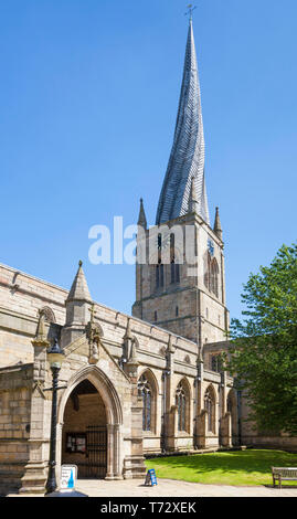 Church of St Mary and All Saints Chesterfield with a famous twisted spire Derbyshire England GB UK Europe - Stock Photo