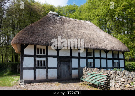 CARDIFF, UK - APRIL 27 : View of Abernodwydd Farmhouse at St Fagans National Museum of History in Cardiff on April 27, 2019 - Stock Photo
