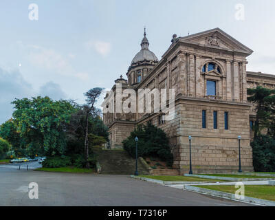 Barcelona, Catalonia, Spain - November 16, 2018: Low-angle view of National Art Museum of Catalonia and park in the area - Stock Photo