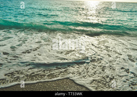 Relaxing scenery before the sunset in the most beautiful beach of Greece- Porto Katsiki in Lefkada - Stock Photo