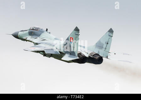 A Mikoyan MiG-29 multirole fighter jet from the 1st Tactical Squadron of the Slovak Air Force. - Stock Photo