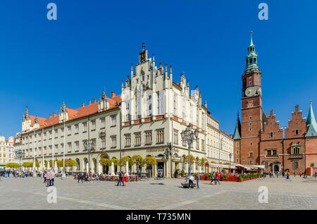 Wroclaw, Lower Silesian province, Poland. West side of the Market Square, with old city hall. Old Town district. - Stock Photo