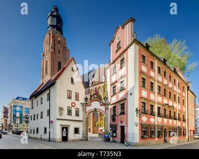 Wroclaw, Lower Silesian province, Poland. 15th cent. medieval tenement houses, called 'Jas i Malgosia'. - Stock Photo