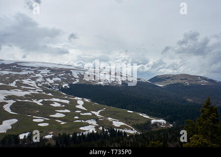 Mountain plateau covered with snow - Stock Photo