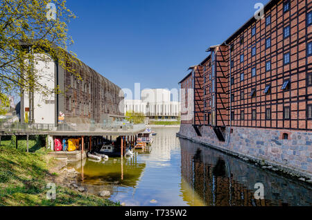 Bydgoszcz, Kuyavian-pomeranian province, Poland. 19th cent. Rother's Mills, Marina buliding, Opera Nova building in the background. - Stock Photo