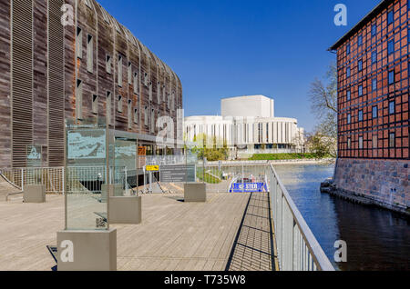 Bydgoszcz, Kuyavian-pomeranian province, Poland. 19th cent. Rother's Mills, Marina buliding, Opera Nova building in the background. - Stock Photo